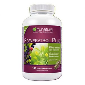 TruNature-Resveratrol-Plus-250-mg-of-Resveratrol-Plus-50-mg-each-of-Red-Wine-Extract-Grape-Seed-Extract-and-Green-Tea-Extract-140-Vegetarian-Capsules-0